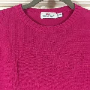 Vineyard Vines whale logo intarsia pink sweater